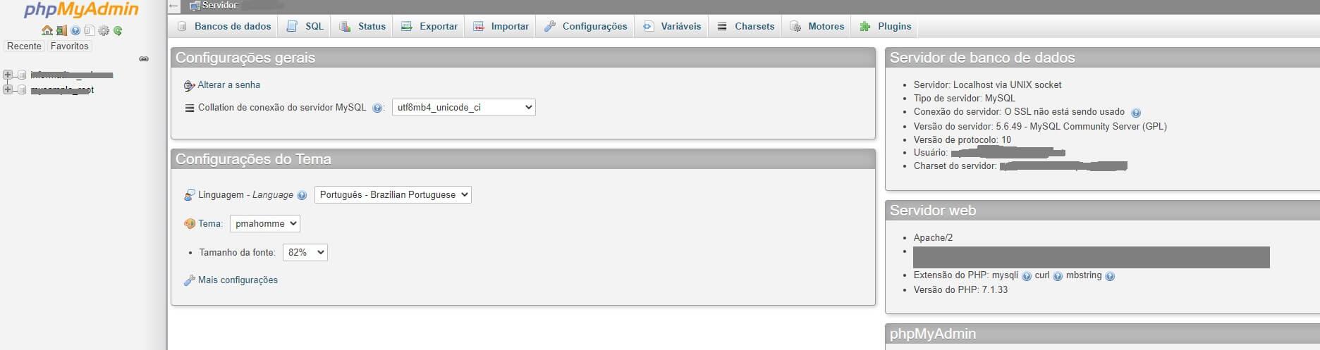 painel do PHPMyAdmin