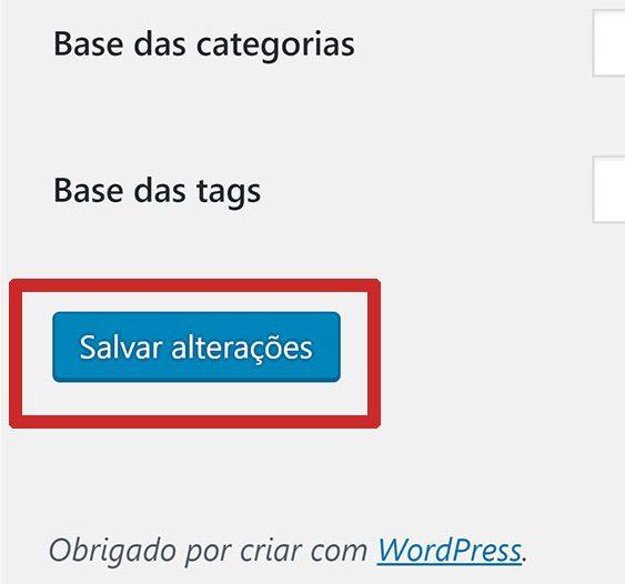 Salvar as configurações de Links Permanentes no WordPress