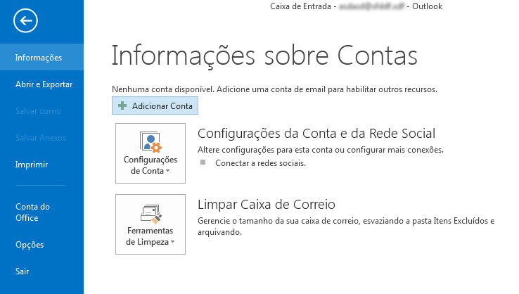 configurar o outlook 2013 - inicial