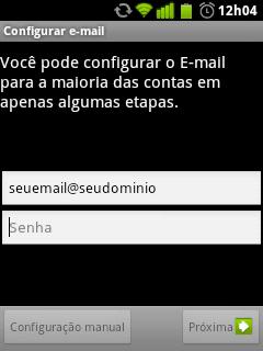 Configurando uma conta de email no Android 3