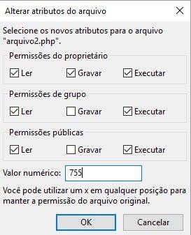 chmod permissoes arquivos filezilla 5