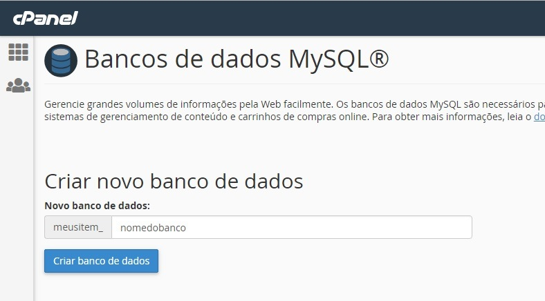 dados do novo banco mysql