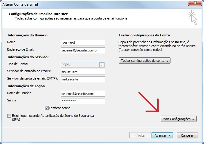 Configurar porta de envio de emails 587 no Outlook 2007