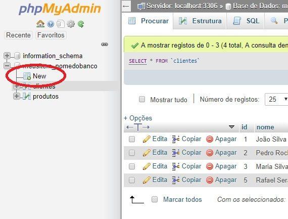 criar nova tabela no phpmyadmin