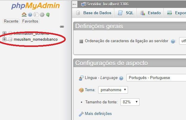 acessar o banco de dados a esquerda, phpmyadmin