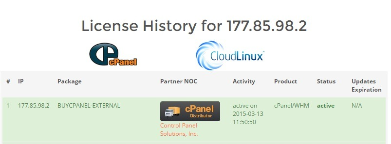 Invalid license file cpanel , resultado