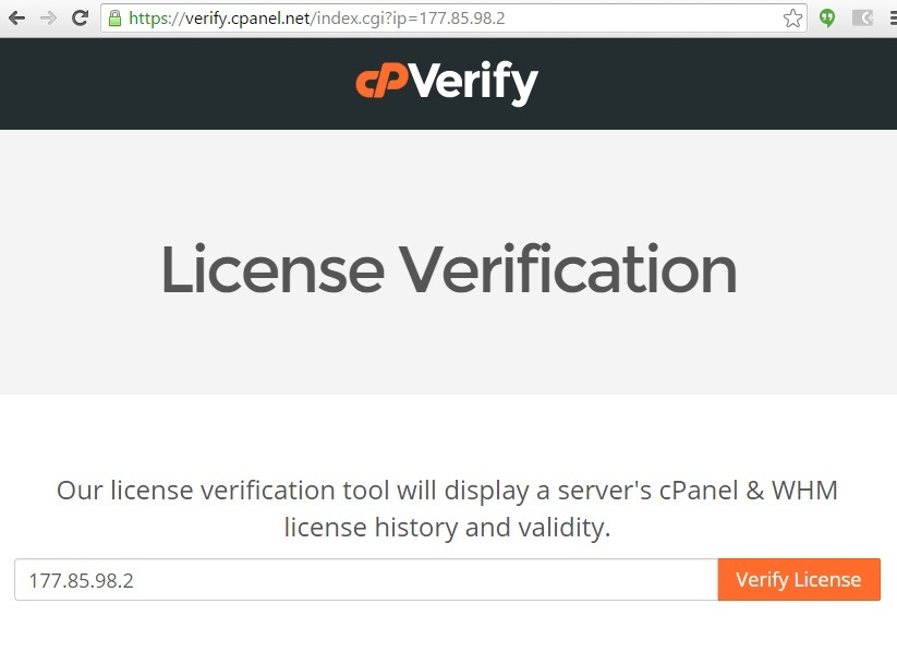 Invalid license file cpanel , validar licença