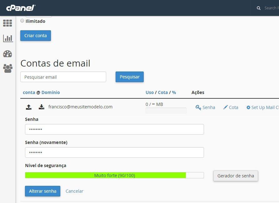 alterar senha conta de email cpanel 4