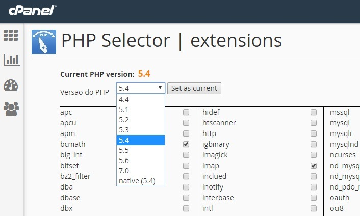 alterar versao do php no cpanel 2