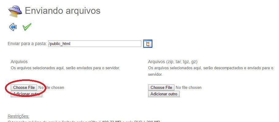 upload ftp online pelo gerenciador de arquivos