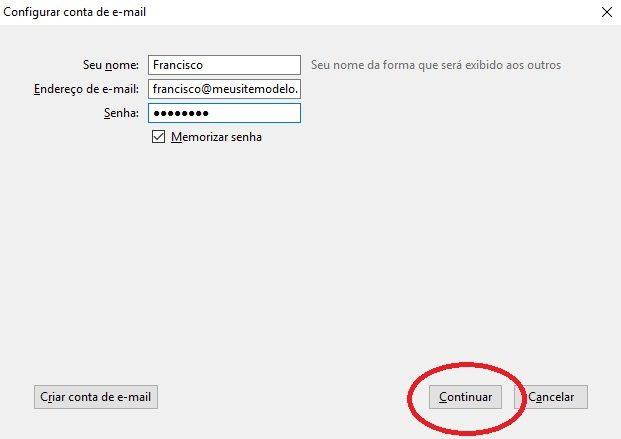 configurar email no thunderbird 5