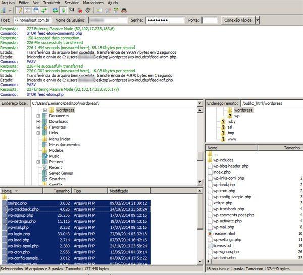 como atualizar o wordpress por ftp