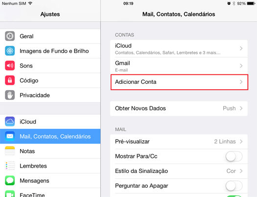 configurar email no iphone 1