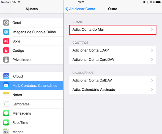 configurar email no iphone 3