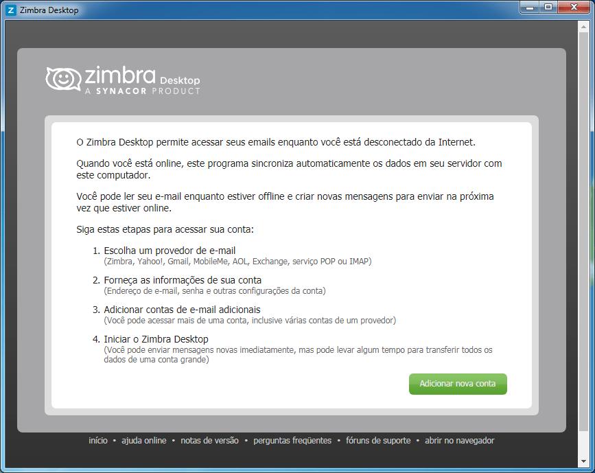 Download e configuração do cliente de email Zimbra Desktop
