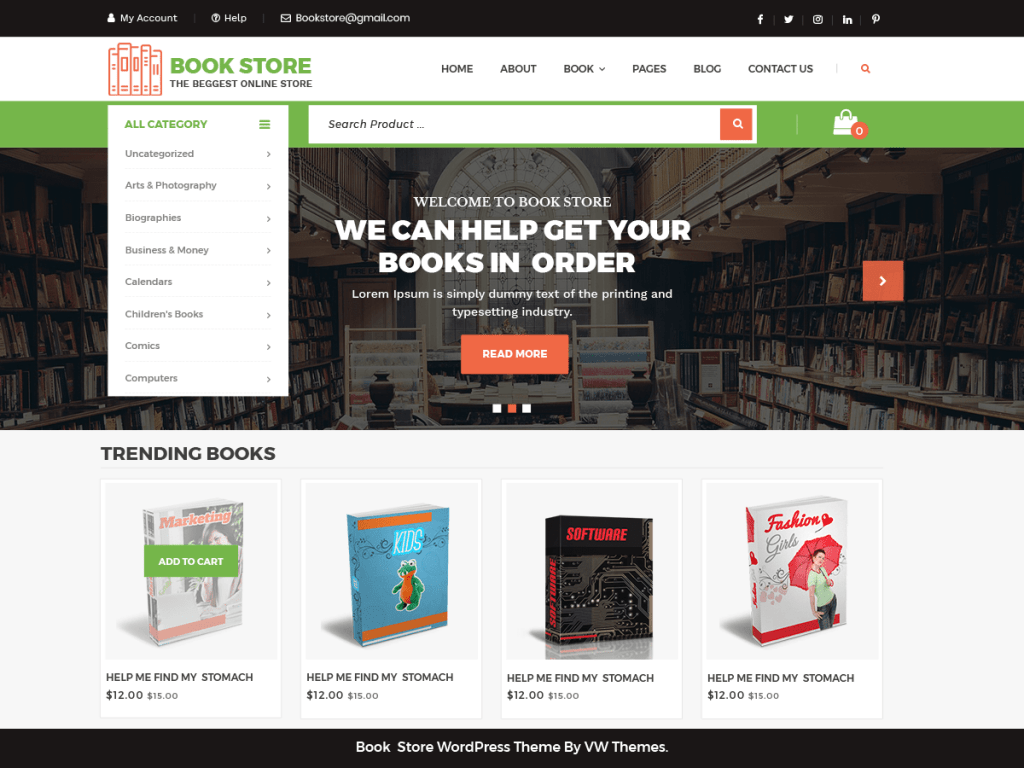 Tema wordpress VW Book Store
