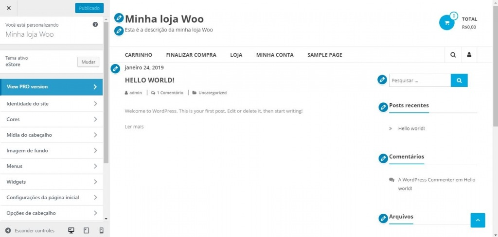 Imagem exibe print de seção no painel do WordPress para modificar aparência do tema