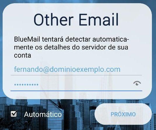 bluemail dados da conta