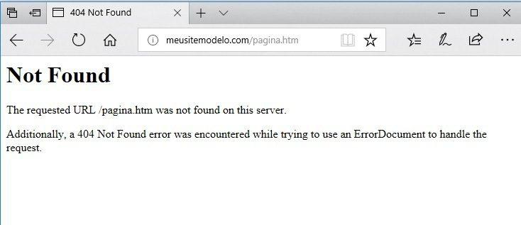 erro 404 no navegador