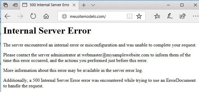 erro no site - internal server error