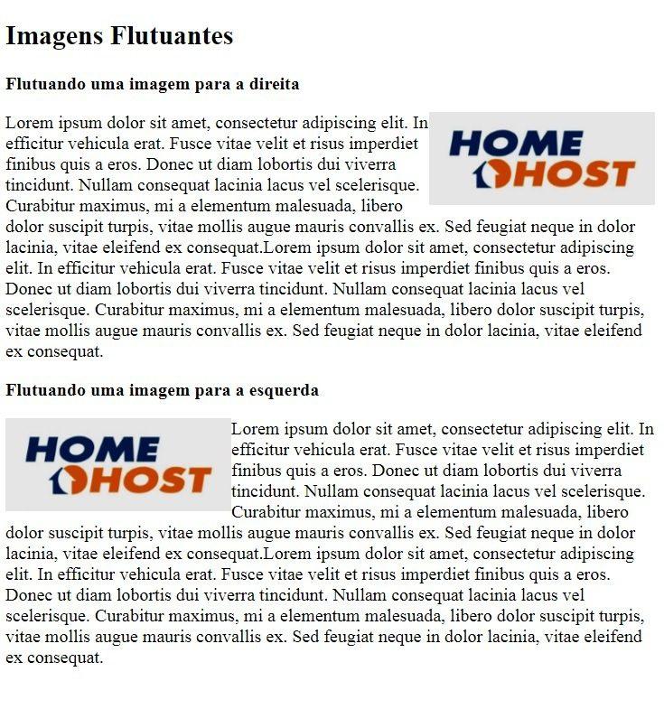 HTML img: Resultado do exemplo de imagens flutuantes