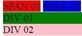 Exemplo visual entre Div HTML e Span