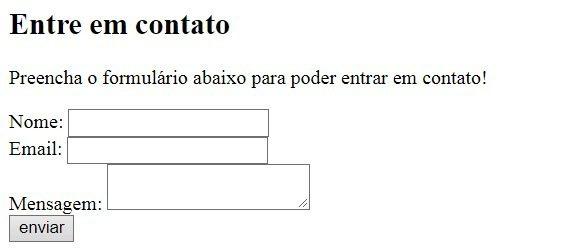 Criando um formulário de contato ao nossa página HTML