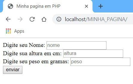 Exemplo do formulário HTML do nosso sistema de calculo de IMC