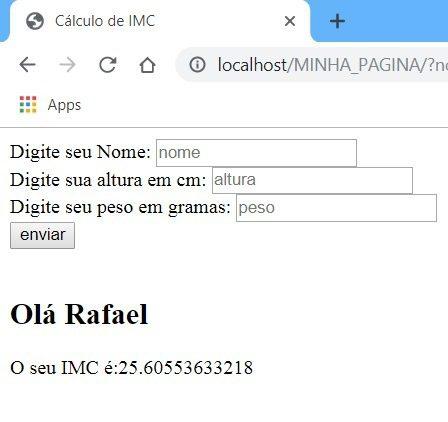 Resultado final do Sistema PHP de calculo de IMC