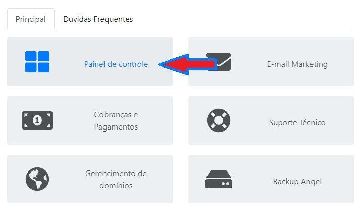 Acessando o painel de controle a partir do login de cliente HomeHost