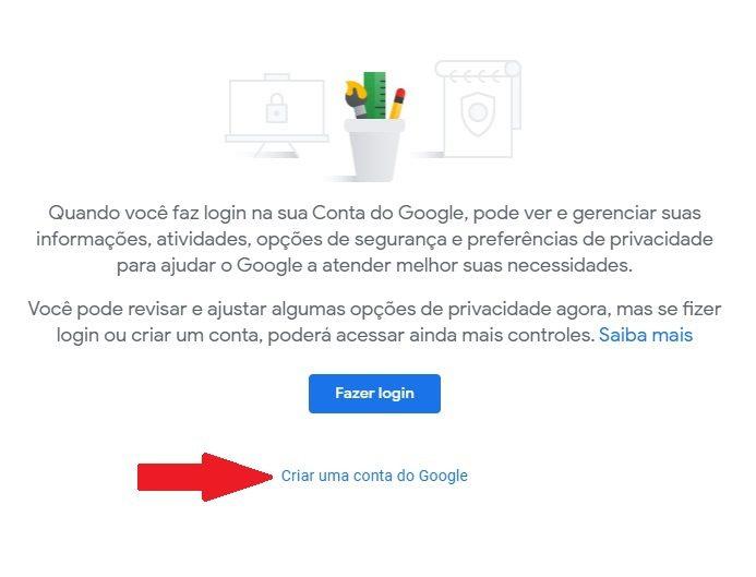 Criar conta google