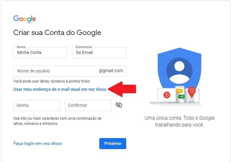 Criando conta google com E-mail de Domínio próprio