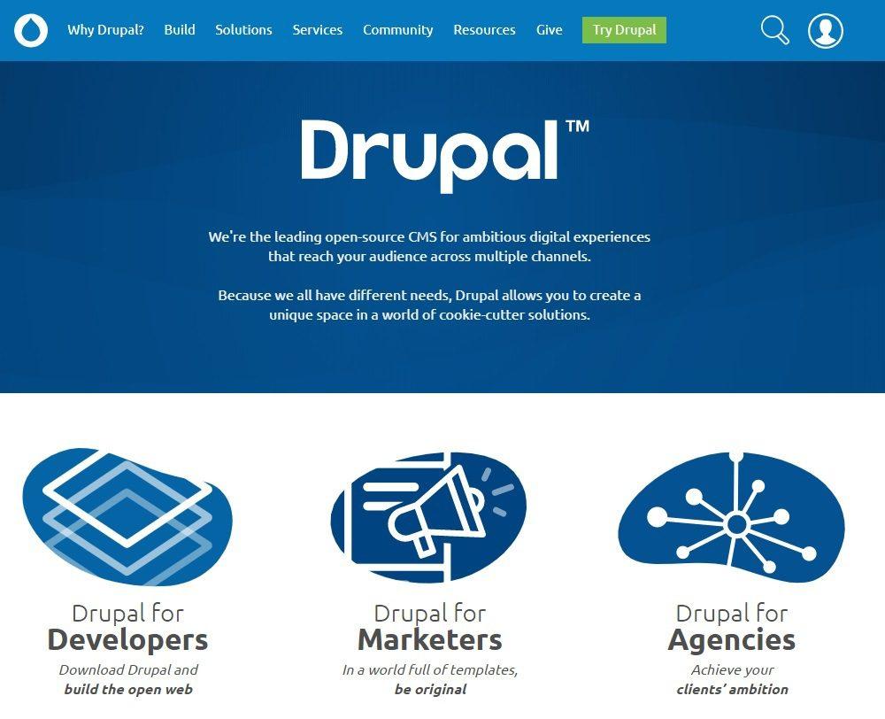 Página inicial do CMS Drupal