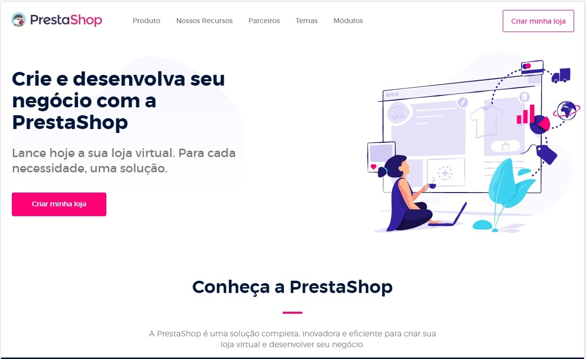 Página inicial do CMS PrestaShop