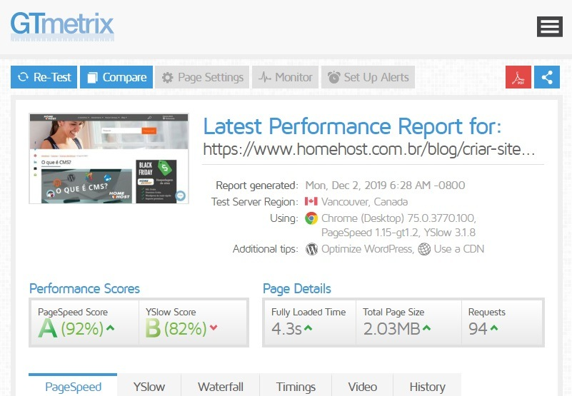 gtmetrix perfomance do site, o que e seo