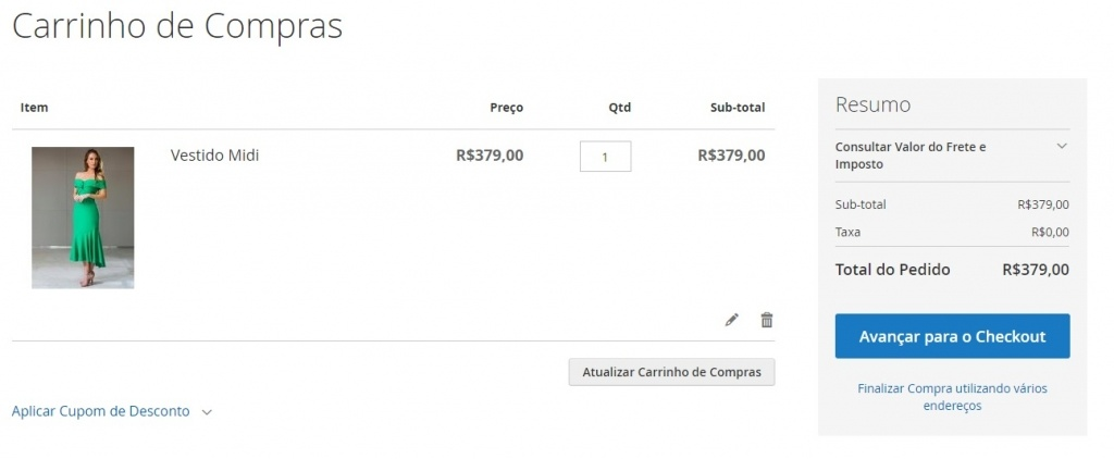 Exemplo de Loja Virtual E-Commerce-Carrinho de Compras
