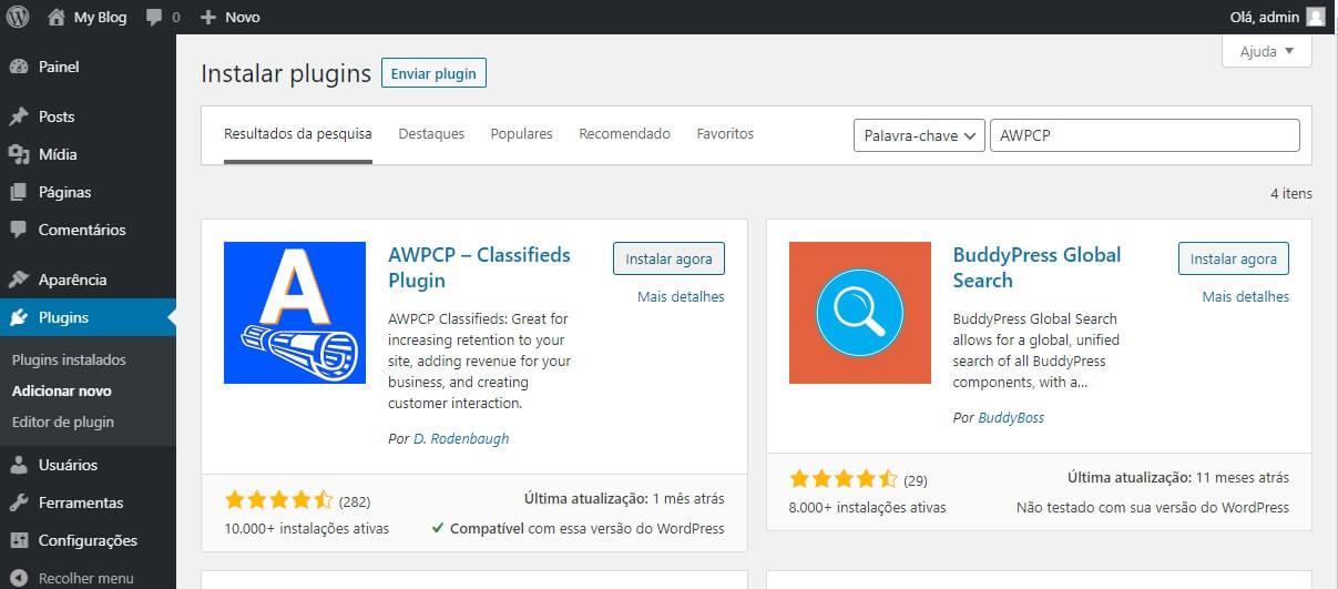 Instalação do plugin AWPCP - Classificados WordPress