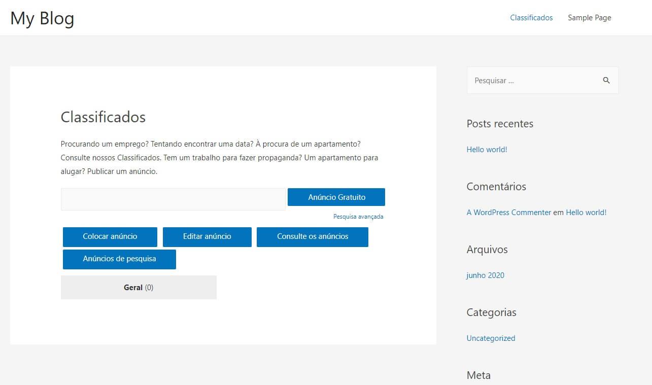 Pagina Inicial de Exemplo de Classificados WordPress