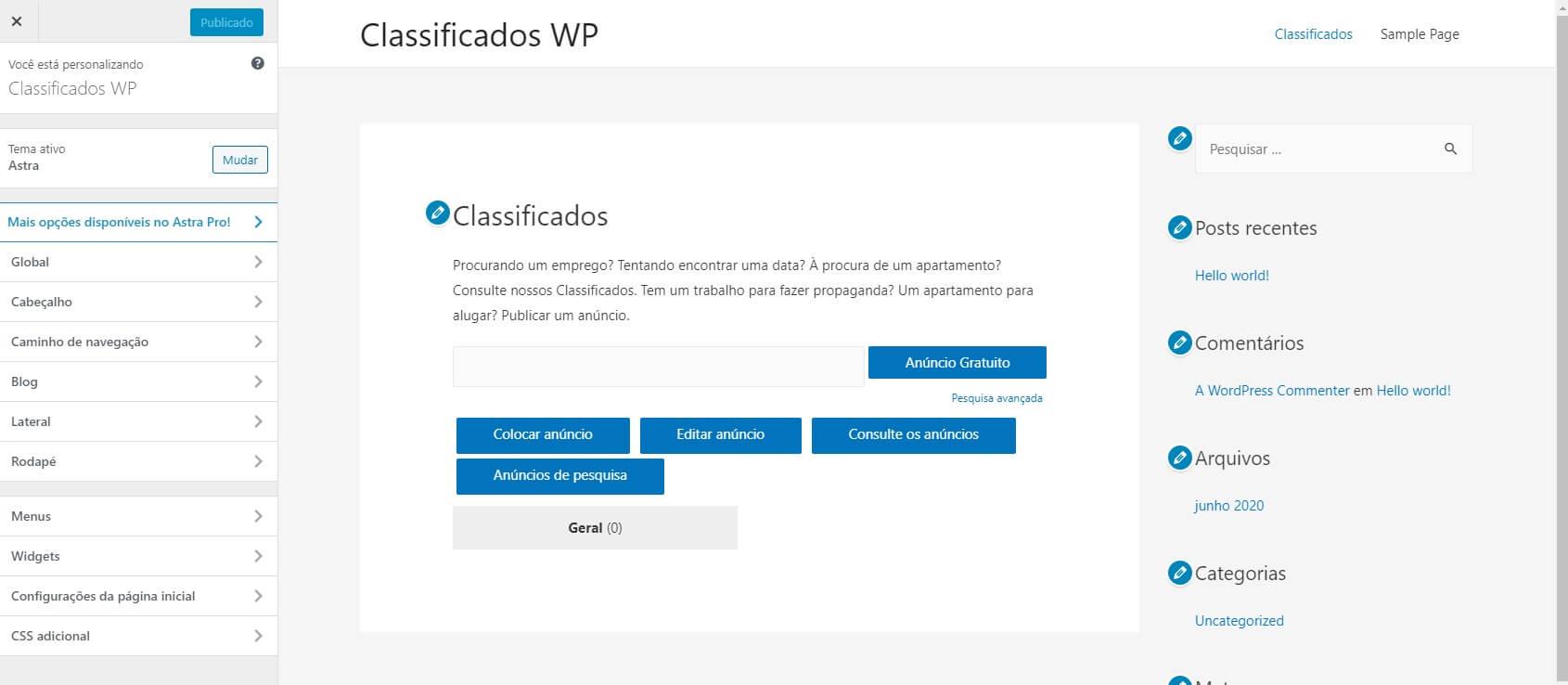 Personalizar Aparência Tema WordPress