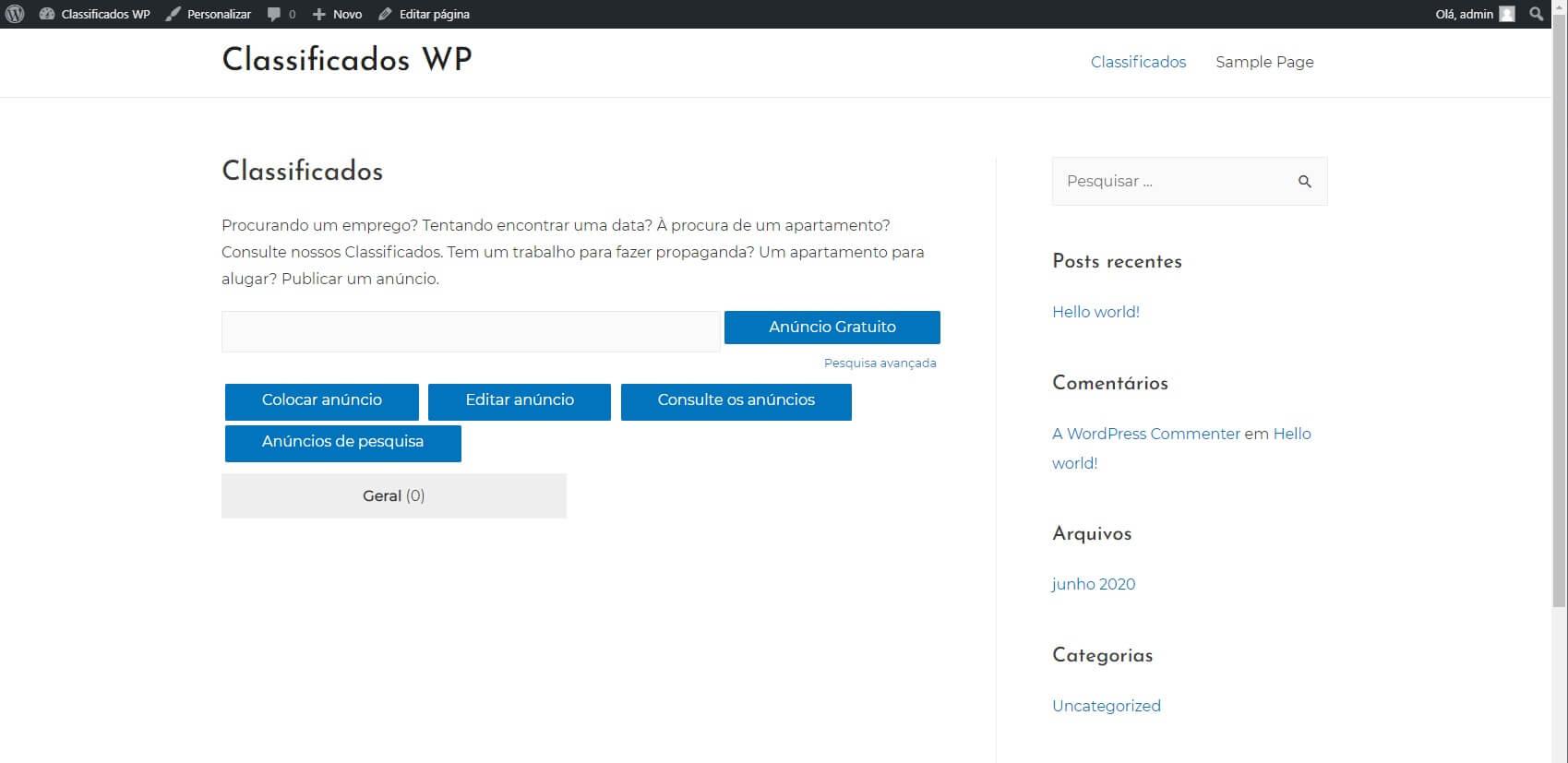 Largura de Conteiner do site Classificados WordPress