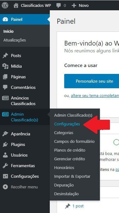 Configurações iniciais do nosso plugin de Classificados WordPress AWPCP