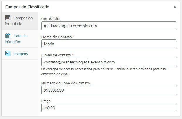 Exemplo de Anuncio sendo Cadastrado - Classificados WordPress