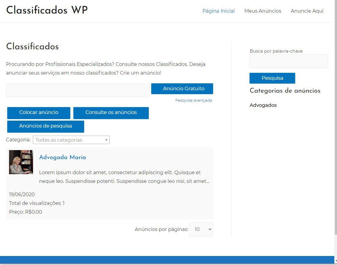 Site de Classificados WordPress com primeiro Anúncio