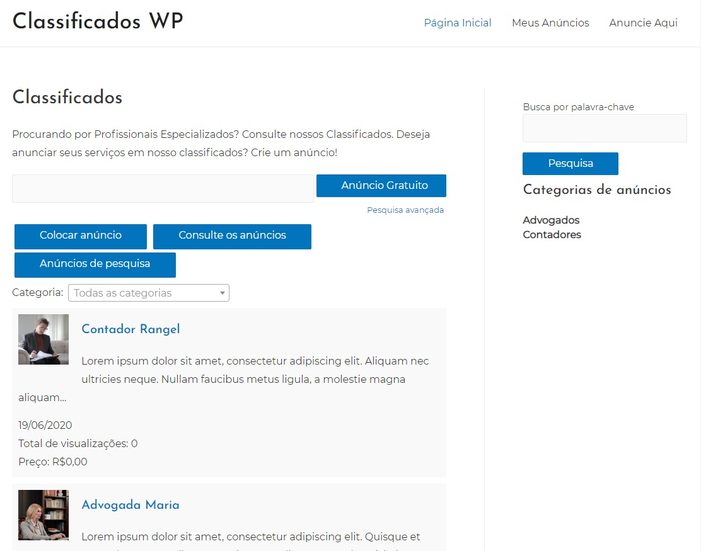 Site de Classificados WordPress com segundo Anúncio