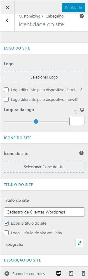 Configurações do Rodapé do Site