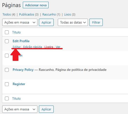 Como alterar Páginas WordPress