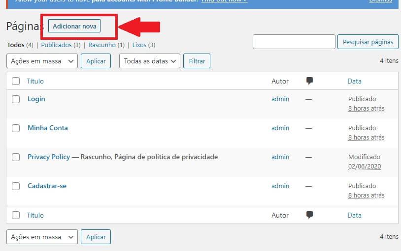 Criar Página Inicial do Site de Cadastro de Clientes em WordPress