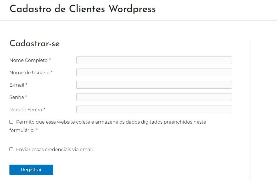 Configurando os Campos do Formulário de Cadastro do Site de Cadastro de Clientes em WordPress
