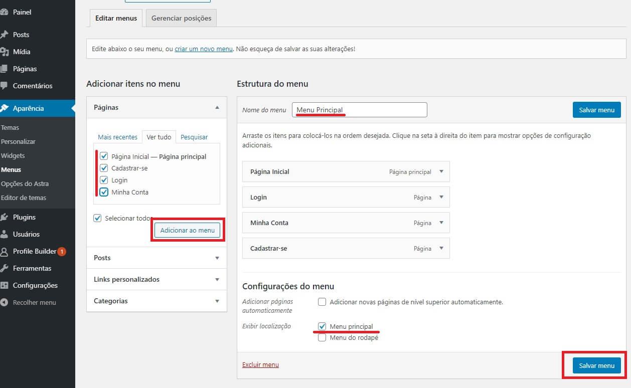 Configurando o menu do Site de Cadastro de Clientes em WordPress