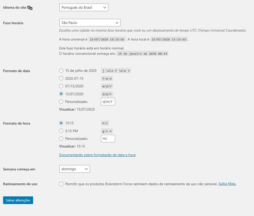 Configurações Gerais do Site WordPress